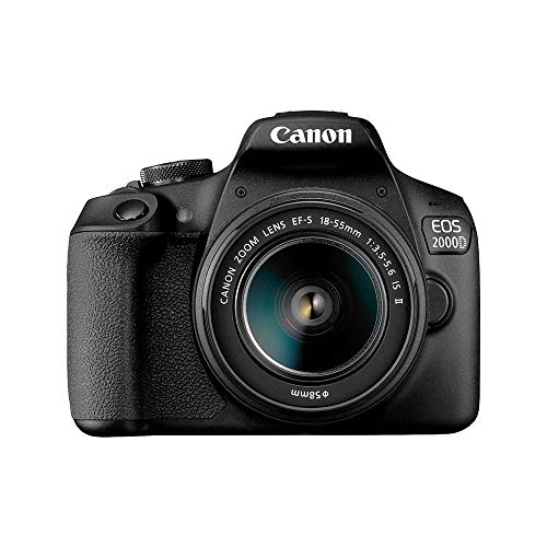 Canon EOS 2000D DSLR Camera and EF-S 18-55 mm f/3.5-5.6 IS II Lens, Black from Canon