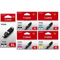 Original Multipack Canon Pixma MG5420 Wireless All-in-One Printer Ink Cartridges (5 Pack) -CB1-PGI550BKXL/CLI551BK/YXL_OEM_13882 from Canon