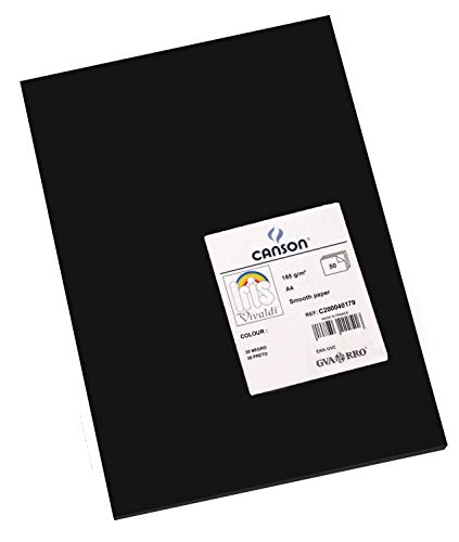 Canson Iris Vivaldi A4 185 GSM Smooth Colour Paper - Black (Pack of 50 Sheets) from Canson