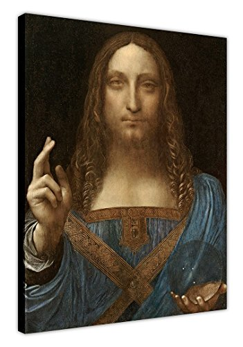 "Salvator Mundi Jesus Christ by Lean Leonardo Da Vinci on Framed Canvas Print Oil Painting Re-print Wall Art Size: A2 - 24"" X 16"" (60cm X 40cm) from Canvas It Up"