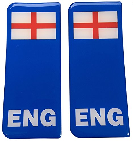 England Blue B/G St George Flag Number Plate Gel Domed End Decals from Capricornone