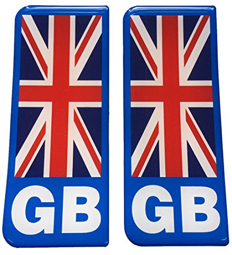 GB Blue B/G Big Flag Number Plate Gel Domed End Decals from Capricornone