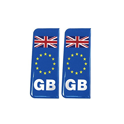 Number Plate Blue Gel Domed Decal EU With Flag - Great Britain 'GB' from Capricornone