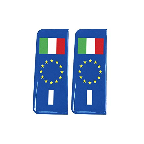 Number Plate Blue Gel Domed Decal EU With Flag - Italy 'I' from Capricornone