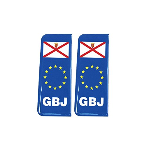 Number Plate Blue Gel Domed Decal EU With Flag - Jersey 'GBJ' from Capricornone