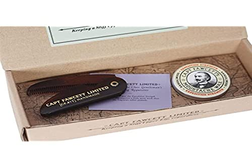 Captain Fawcett's Moustache Wax (Expedition Strength) & Folding Pocket Moustache Comb (CF.87T) Gift Set - Made in England from Captain Fawcett's
