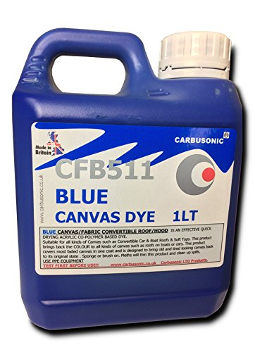 Carbusonic Convertible roof dye soft top hood canvas restorer, Blue 1 Litre from Carbusonic Limited.