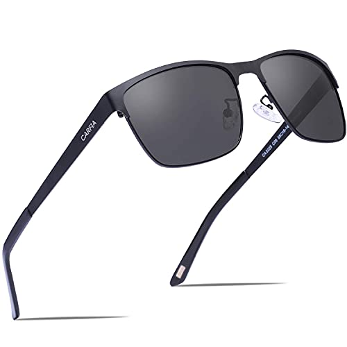 Carfia Polarized Sunglasses Man Metal Square Frame 100%UV400 Protection for Driving, One Size, Black Frame With Grey Lens from Carfia