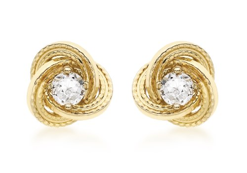 Carissima Gold Women's 9 ct Yellow Gold 3 mm Cubic Zirconia and 8 mm Textured Knot Stud Earrings from Carissima Gold
