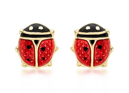 Carissima Gold 9ct Yellow Gold Enamel Ladybird Stud Earrings from Carissima Gold