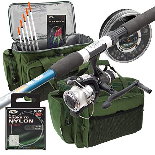 New Travel Starter Fishing Rod & Reel Set Up With Floats Feathers And Rod Bag from Carp-Corner