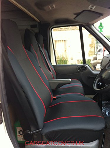 Carseatcover-UK® Heavy Duty Black & RED Trim Van Seat Covers (Universal Fit) - Single + Double from Carseatcover-UK