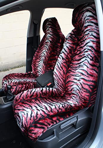 RED TIGER FAUX FUR CAR SEAT COVERS (FRONT PAIR) from Carseatcover-UK