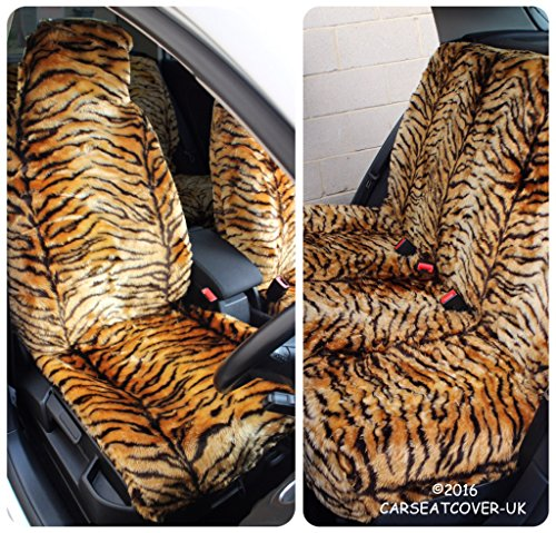 Mitsubishi L200 Red Tiger Faux Fur Furry Car Seat Covers Full Set