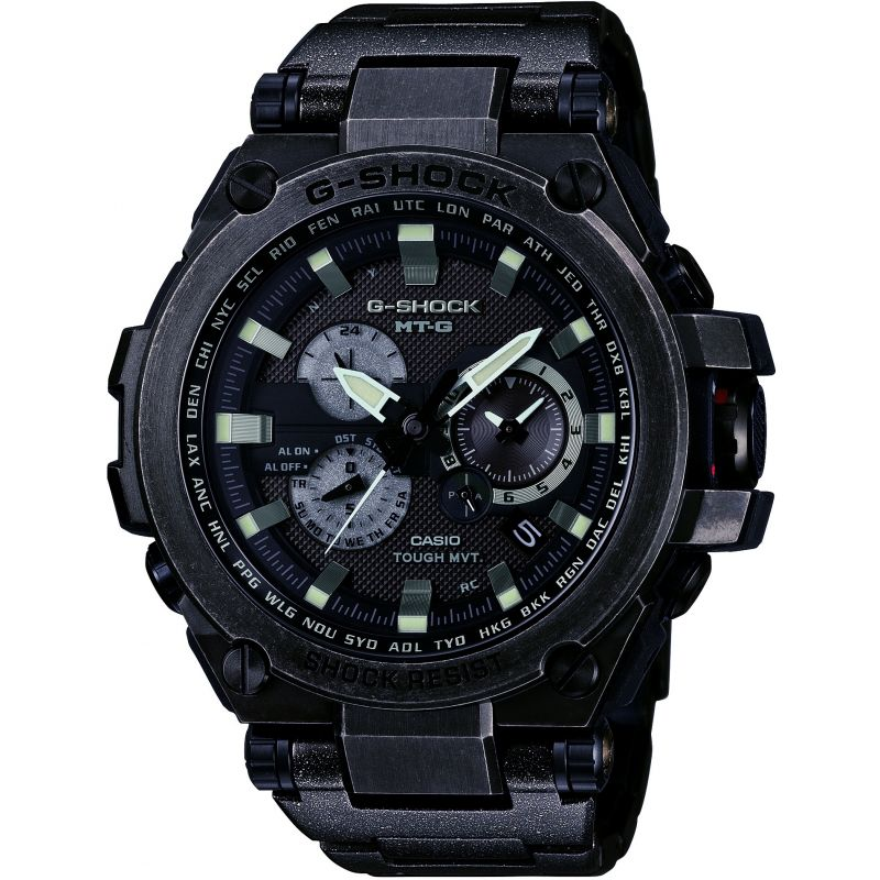 Mens Casio G-Shock Premium MT-G Aged Silver Alarm Chronograph Radio Controlled Watch from Casio