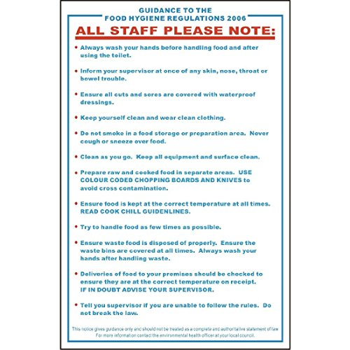 Food Safety Act 1995 Guidance Sign Notice Plaque Poster Commercial 330X200mm from Vogue