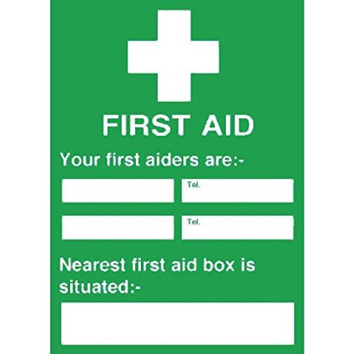 First Aiders Nearest Box Sign Notice Safety Plaque Poster Commercial 300X200mm from Vogue