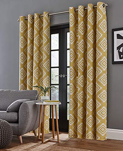 Catherine Lansfield Aztec Eyelet Curtains Ochre, 66x90Inch from Catherine Lansfield