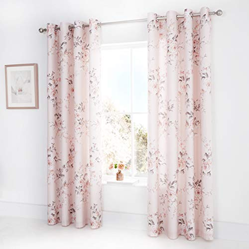 Catherine Lansfield Canterbury Easy Care Eyelet Curtains Blush 66x72 Inch from Catherine Lansfield