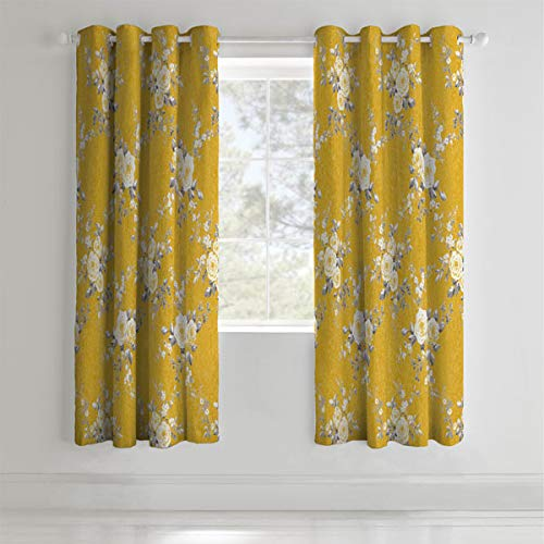 Catherine Lansfield Canterbury Black Out Eyelet Curtains Ochre 66x72Inch from Catherine Lansfield