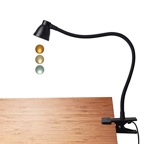 CeSunlight Clamp Desk Lamp, Clip on Reading Light, 3000-6500K Adjustable Color Temperature, 6 Illumination Modes, 10 Led Beads, AC Adapter and USB Cord Included (Black) from CeSunlight
