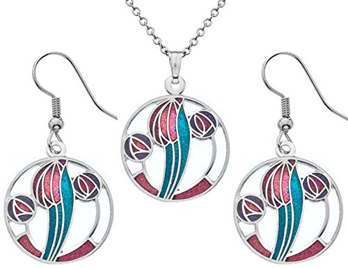 Mackintosh Rose & Tulip Pendant/Earrings Set - Red from Celtic Lands