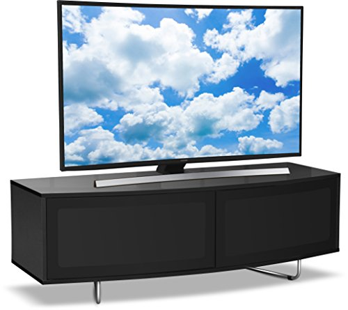 "Centurion Supports Caru Gloss Black Beam-Thru Remote Friendly Super-Contemporary ""D"" Shape Design 32""-65"" LED/ OLED / LCD TV Cabinet from Centurion Supports"