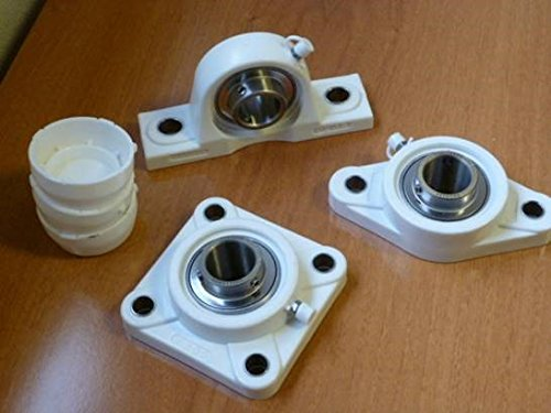 Challenge SUCF206 Thermoplastic 4-hole Flange Unit with Stainless Steel Bearing and End Cap from Challenge