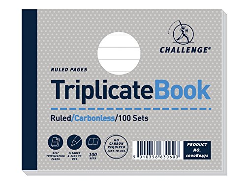 Challenge 105 x 130 mm Triplicate Book, Carbonless, 100 Pages, Set of 5 from CHALLENGE