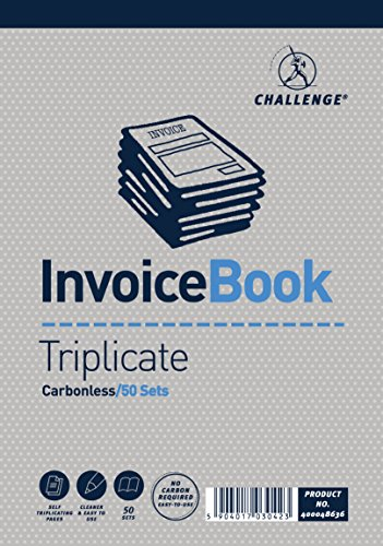 Challenge 195 x 137 mm Triplicate Invoice Book without Vat, Carbonless, 50 Pages, Set of 5 from CHALLENGE