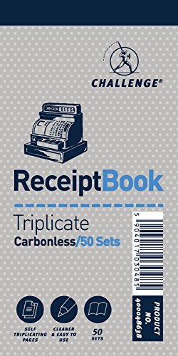 Challenge 140 x 170 mm Triplicate Receipt Book, Carbonless, 50 Pages, Set of 10 from CHALLENGE