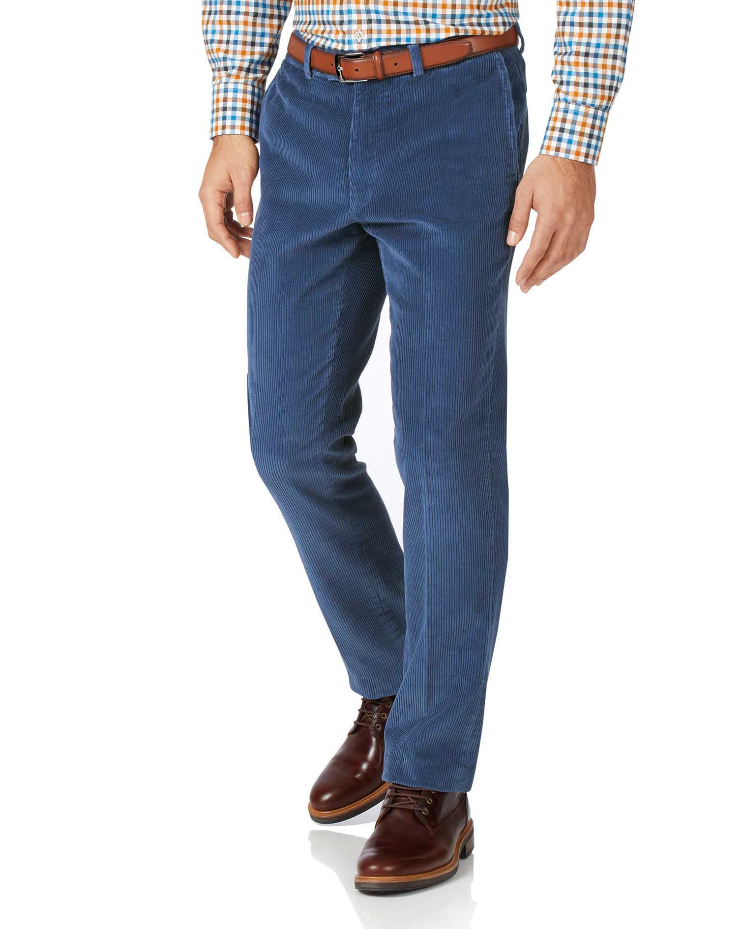 Airforce Blue Classic Fit Jumbo Corduroy Trousers Size W34 L34 by Charles Tyrwhitt from Charles Tyrwhitt