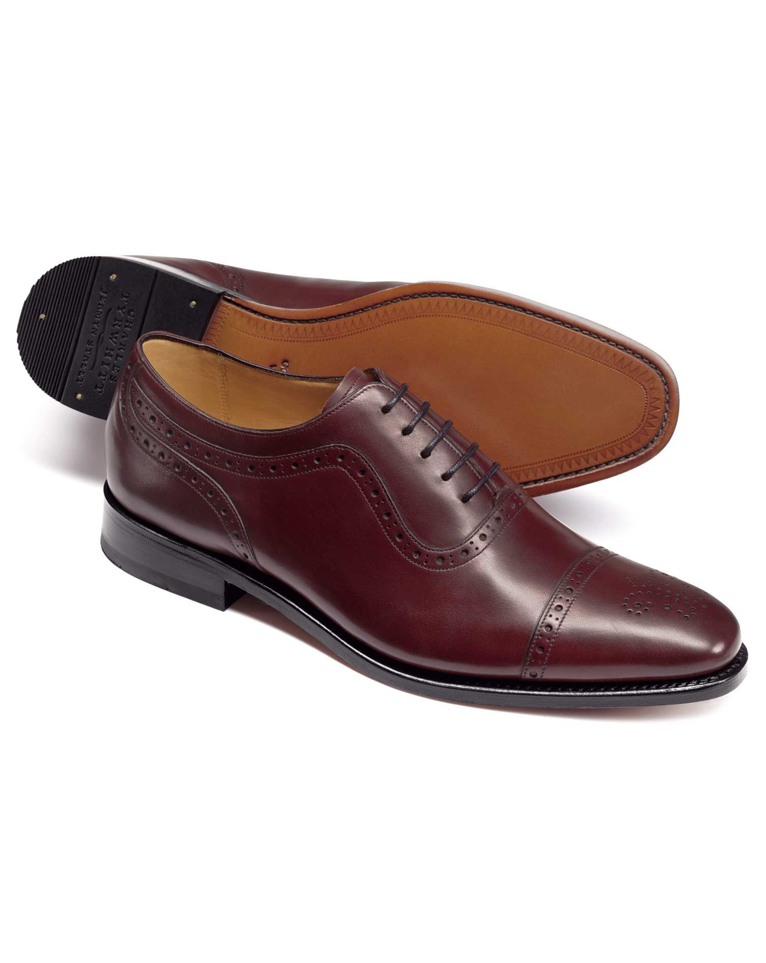 Burgundy Goodyear Welted Oxford Brogue Shoes Size 9.5 R by Charles Tyrwhitt from Charles Tyrwhitt