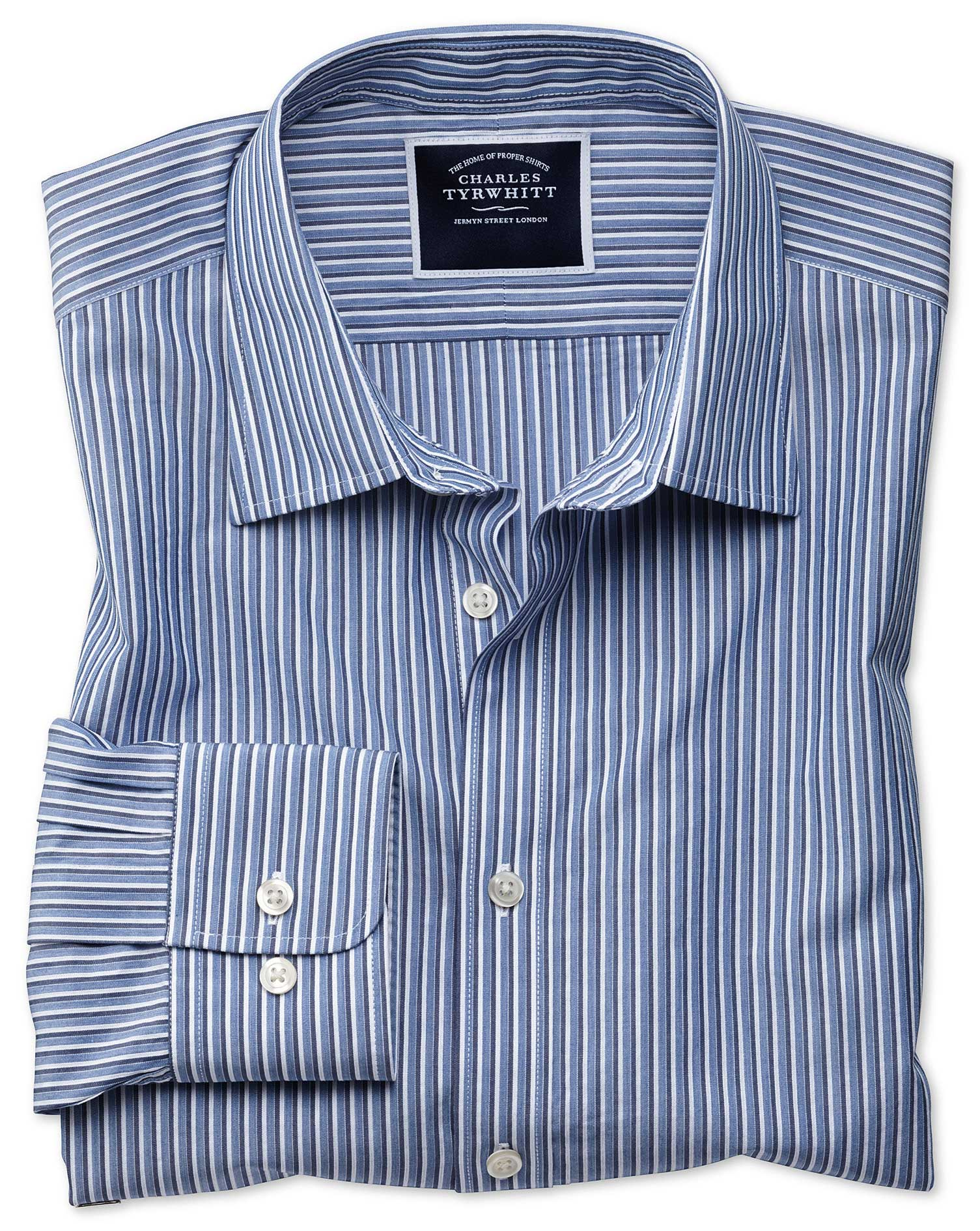 Classic Fit Blue Stripe Soft Washed Cotton Shirt Single Cuff Size Large by Charles Tyrwhitt from Charles Tyrwhitt