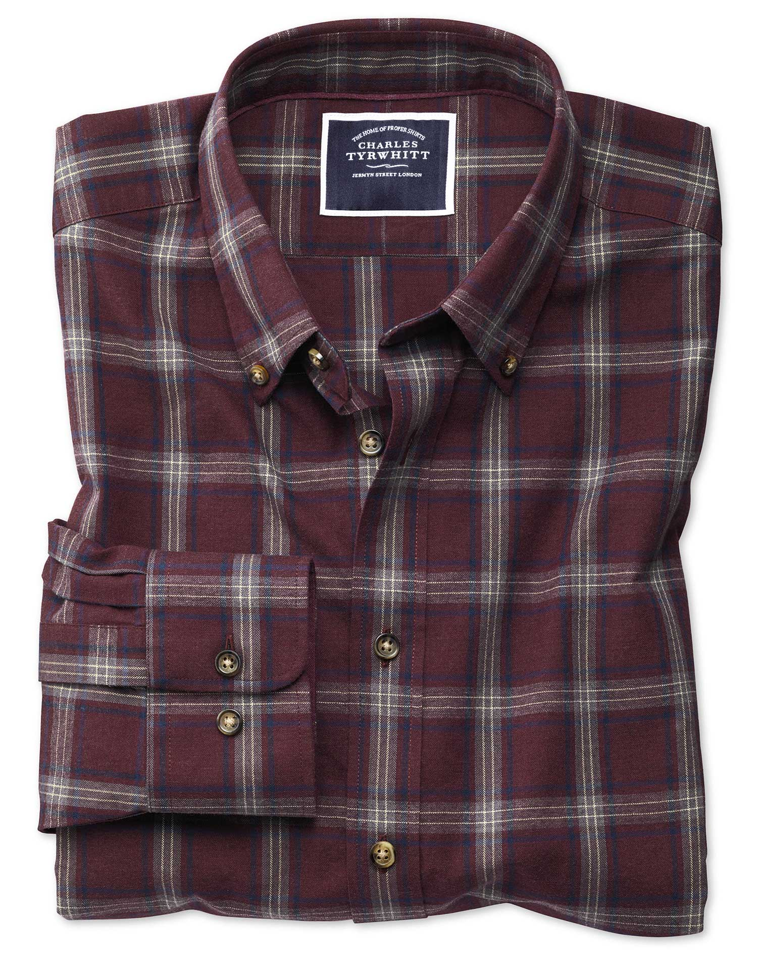 Classic Fit Burgundy and Blue Check Herringbone Melange Cotton Shirt Single Cuff Size Large by Charles Tyrwhitt from Charles Tyrwhitt