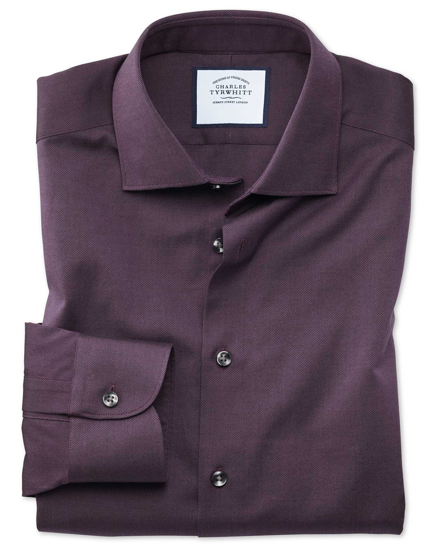 Classic Fit Business Casual Berry Royal Oxford Cotton Formal Shirt Single Cuff Size 17.5/34 by Charles Tyrwhitt from Charles Tyrwhitt