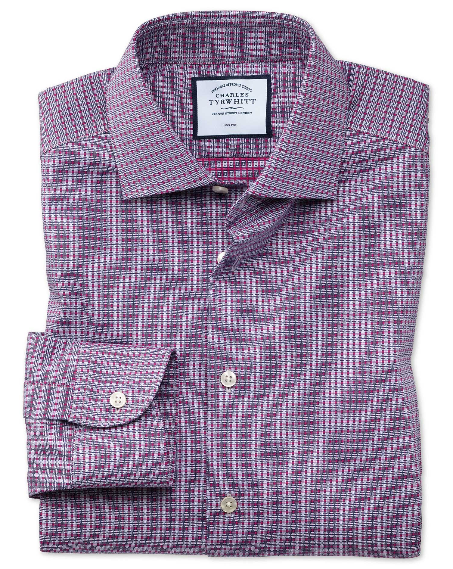 Classic Fit Business Casual Non-Iron Pink and Navy Square Dobby Cotton Formal Shirt Single Cuff Size 16/36 by Charles Tyrwhitt from Charles Tyrwhitt