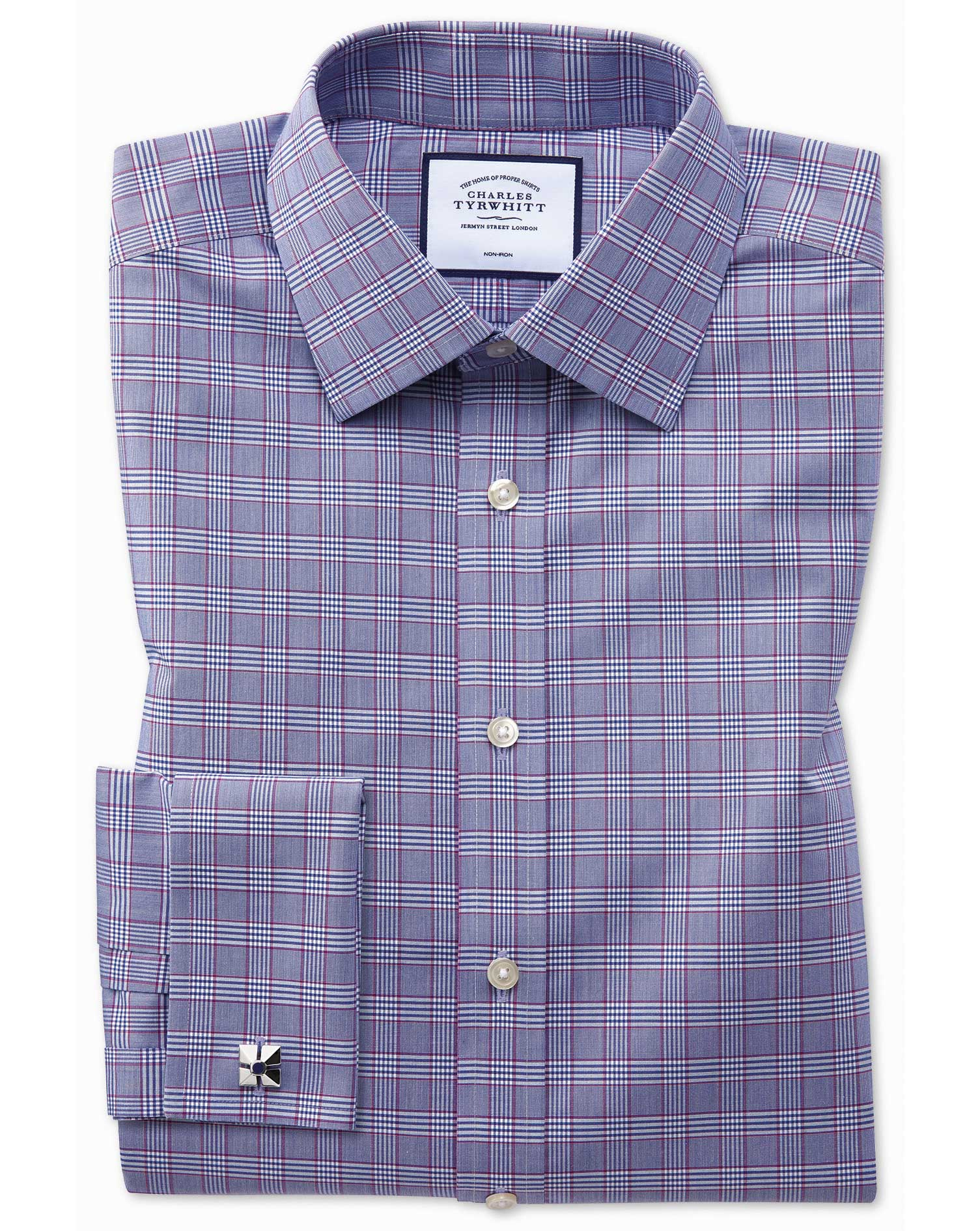 Classic Fit Non-Iron Berry and Navy Prince Of Wales Check Cotton Formal Shirt Double Cuff Size 17/34 by Charles Tyrwhitt from Charles Tyrwhitt
