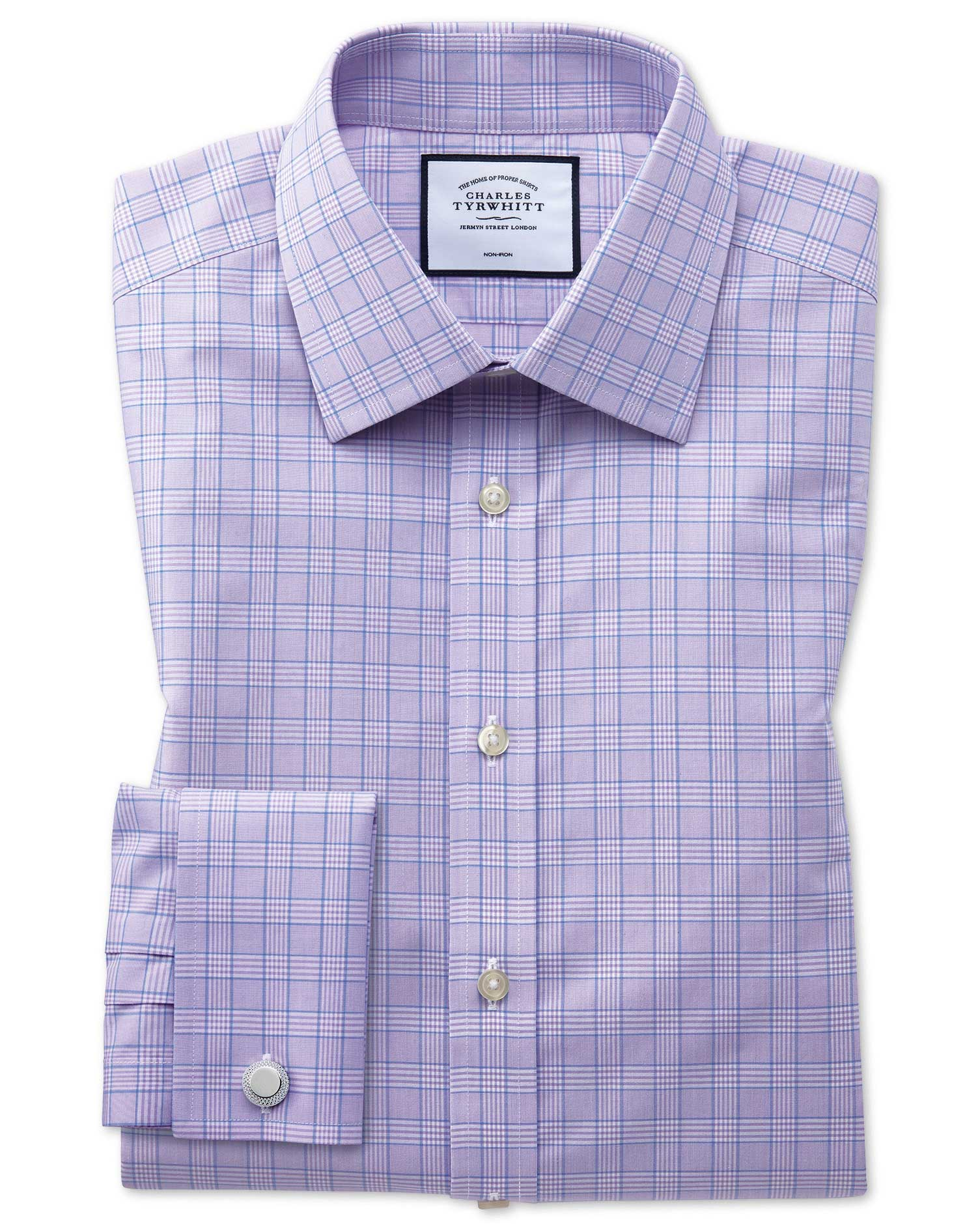 Classic Fit Non-Iron Lilac and Blue Prince Of Wales Check Cotton Formal Shirt Single Cuff Size 16.5/34 by Charles Tyrwhitt from Charles Tyrwhitt