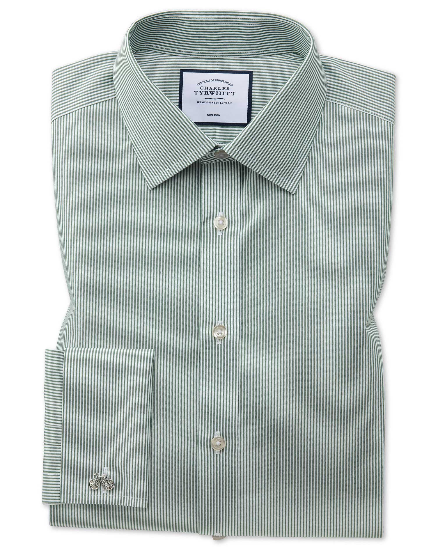 Classic Fit Non-Iron Olive Bengal Stripe Cotton Formal Shirt Double Cuff Size 17/37 by Charles Tyrwhitt from Charles Tyrwhitt