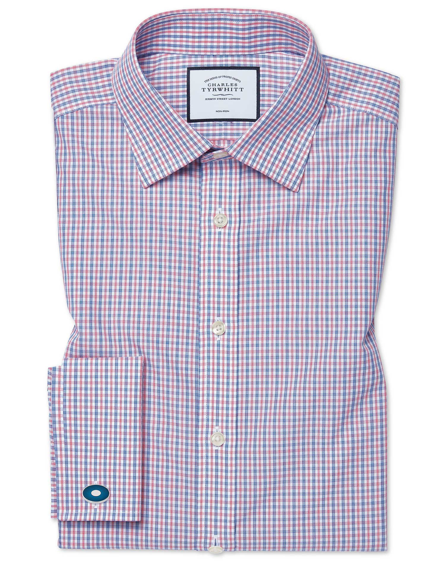 Classic Fit Non-Iron Poplin Blue and Red Cotton Formal Shirt Single Cuff Size 19/37 by Charles Tyrwhitt from Charles Tyrwhitt