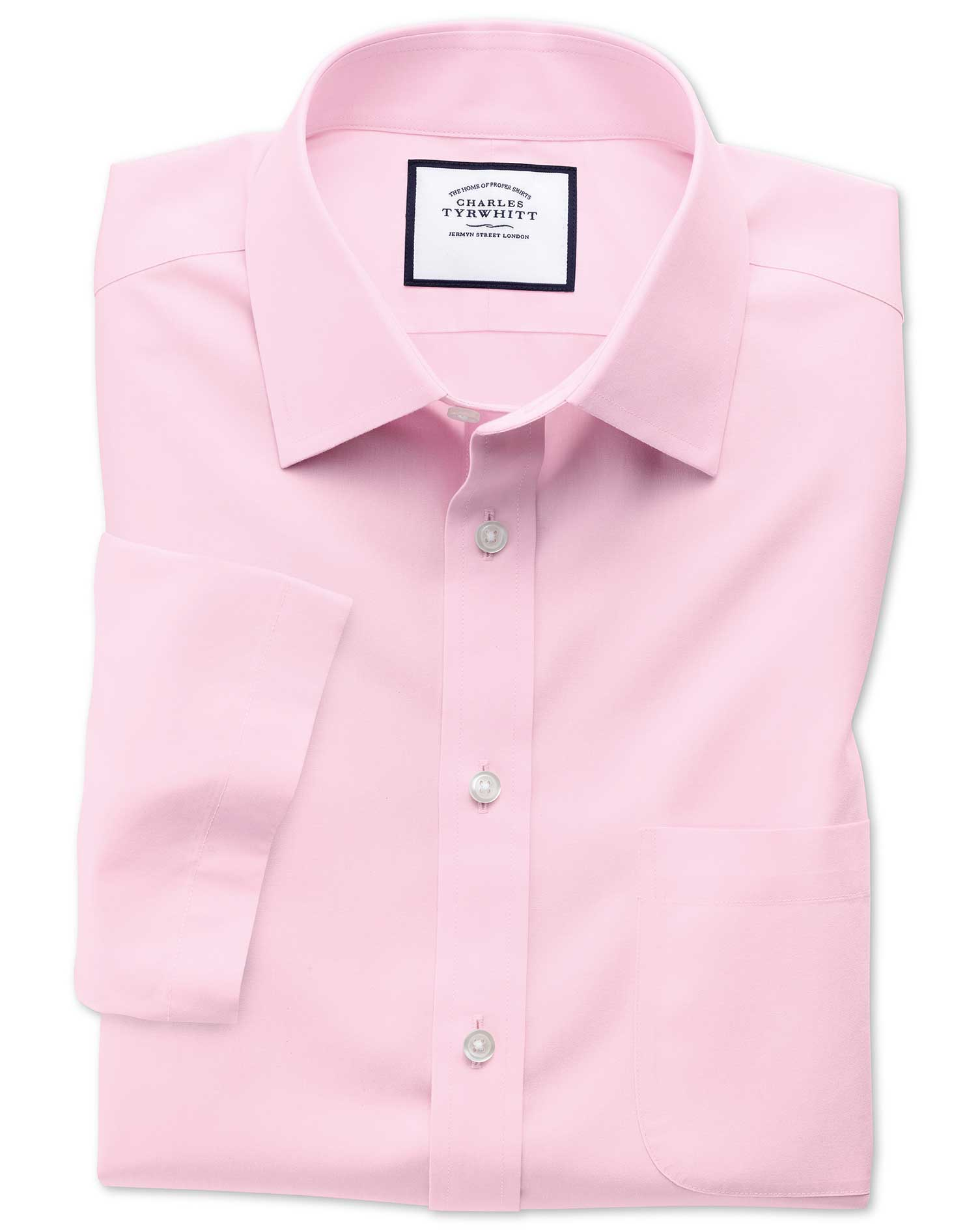 Classic Fit Non-Iron Poplin Short Sleeve Pink Cotton Formal Shirt Size 16.5/Short by Charles Tyrwhitt from Charles Tyrwhitt