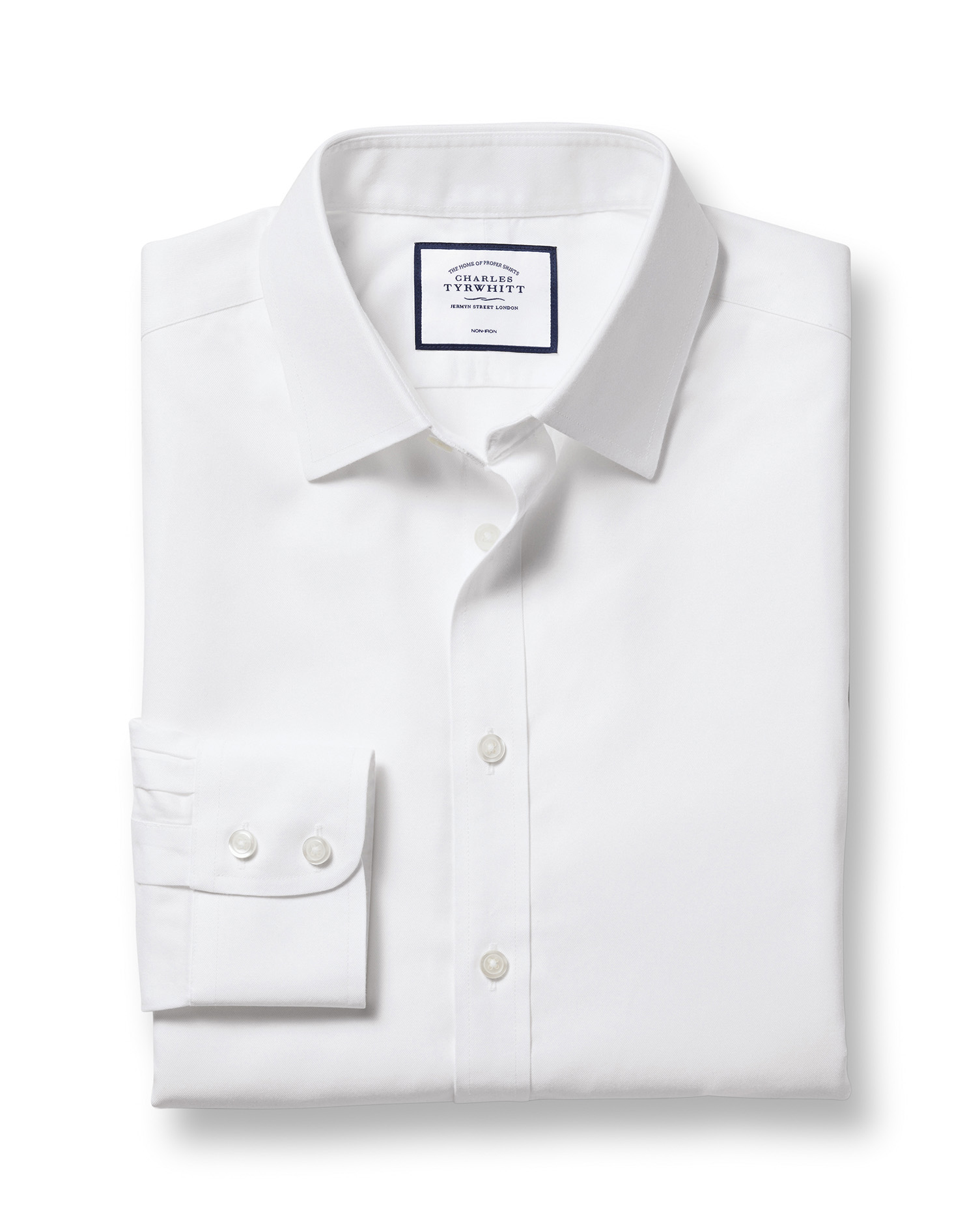 Classic Fit Non-Iron Twill White Cotton Formal Shirt Single Cuff Size 17/35 by Charles Tyrwhitt from Charles Tyrwhitt
