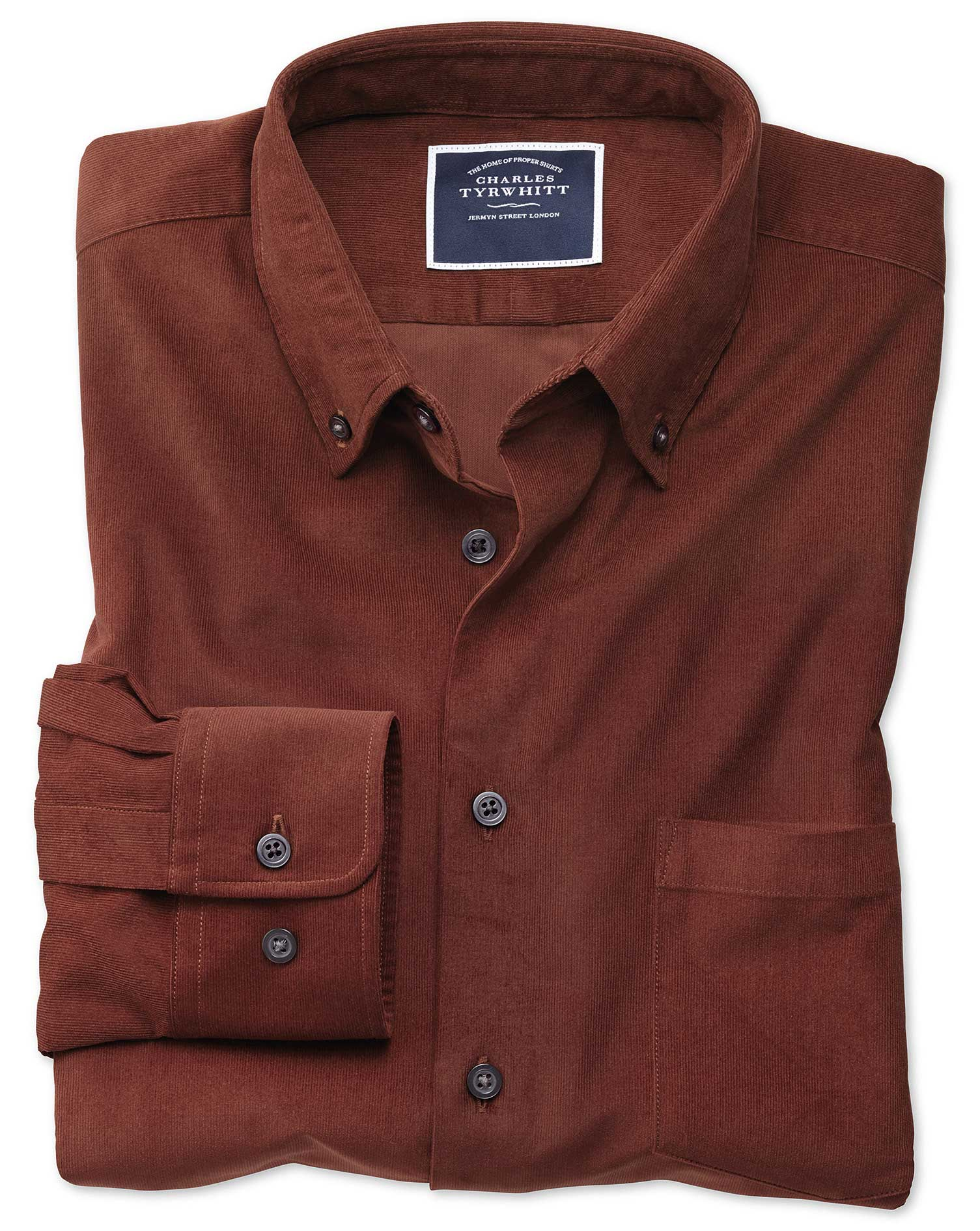 Classic Fit Plain Rust Fine Corduroy Cotton Shirt Single Cuff Size Small by Charles Tyrwhitt from Charles Tyrwhitt