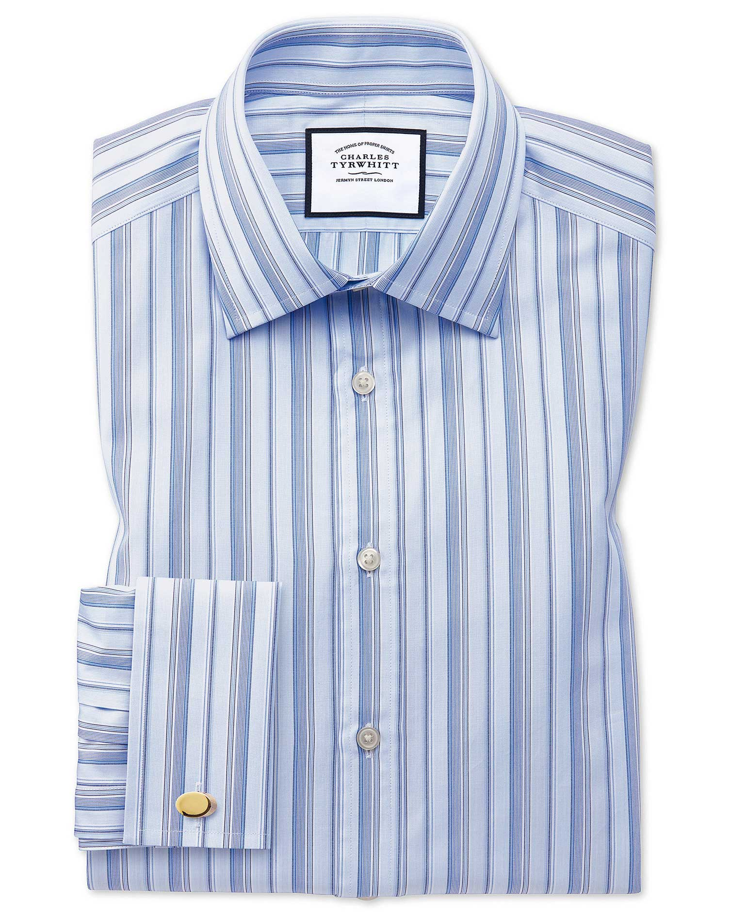 Classic Fit Sky Blue Multi Stripe Egyptian Cotton Formal Shirt Double Cuff Size 15/33 by Charles Tyrwhitt from Charles Tyrwhitt