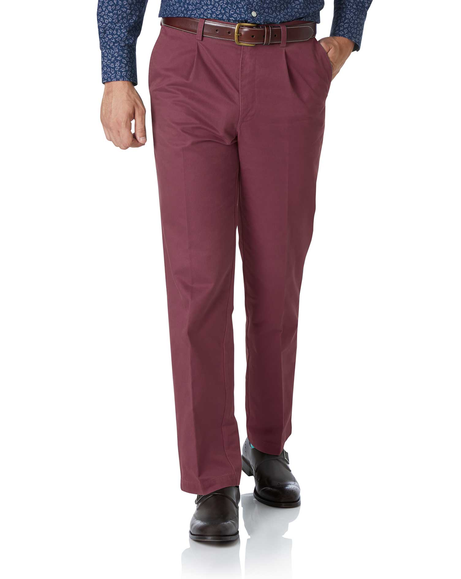 Dark Pink Classic Fit Single Pleat Washed Cotton Chino Trousers Size W36 L29 by Charles Tyrwhitt from Charles Tyrwhitt