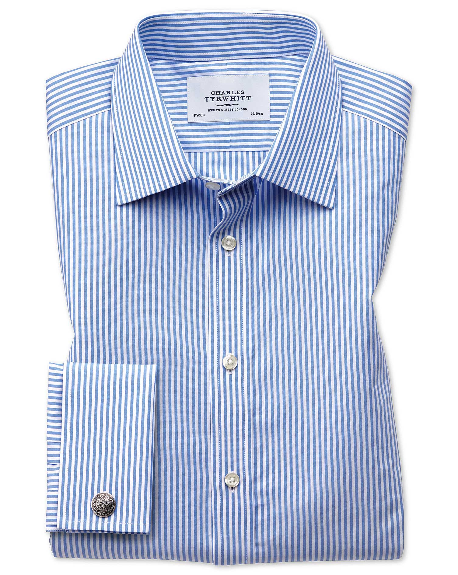 Extra Slim Fit Bengal Stripe Sky Blue Cotton Formal Shirt Double Cuff Size 16/36 by Charles Tyrwhitt from Charles Tyrwhitt