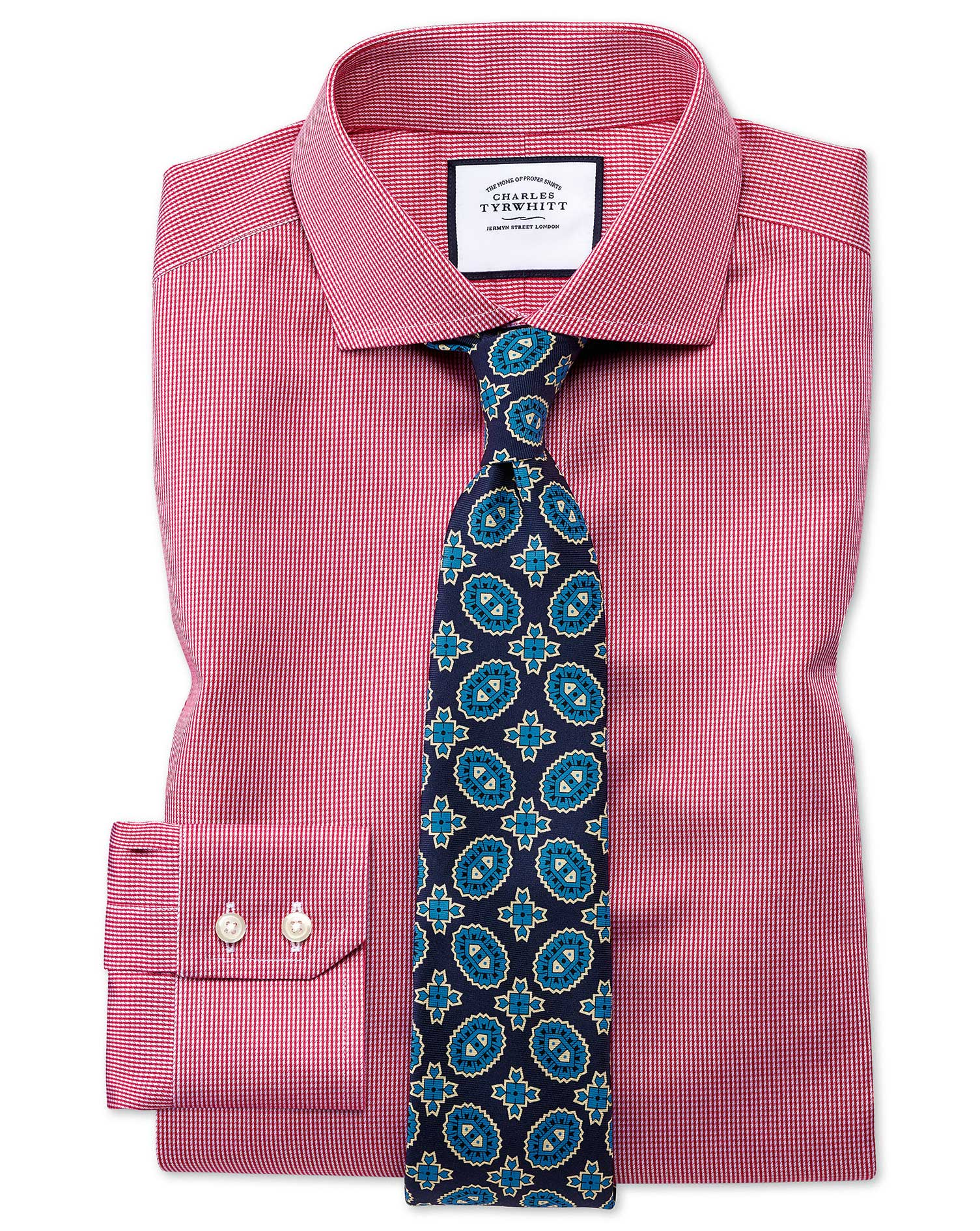 Extra Slim Fit Cutaway Collar Non-Iron Puppytooth Bright Pink Cotton Formal Shirt Double Cuff Size 16.5/34 by Charles Tyrwhitt from Charles Tyrwhitt