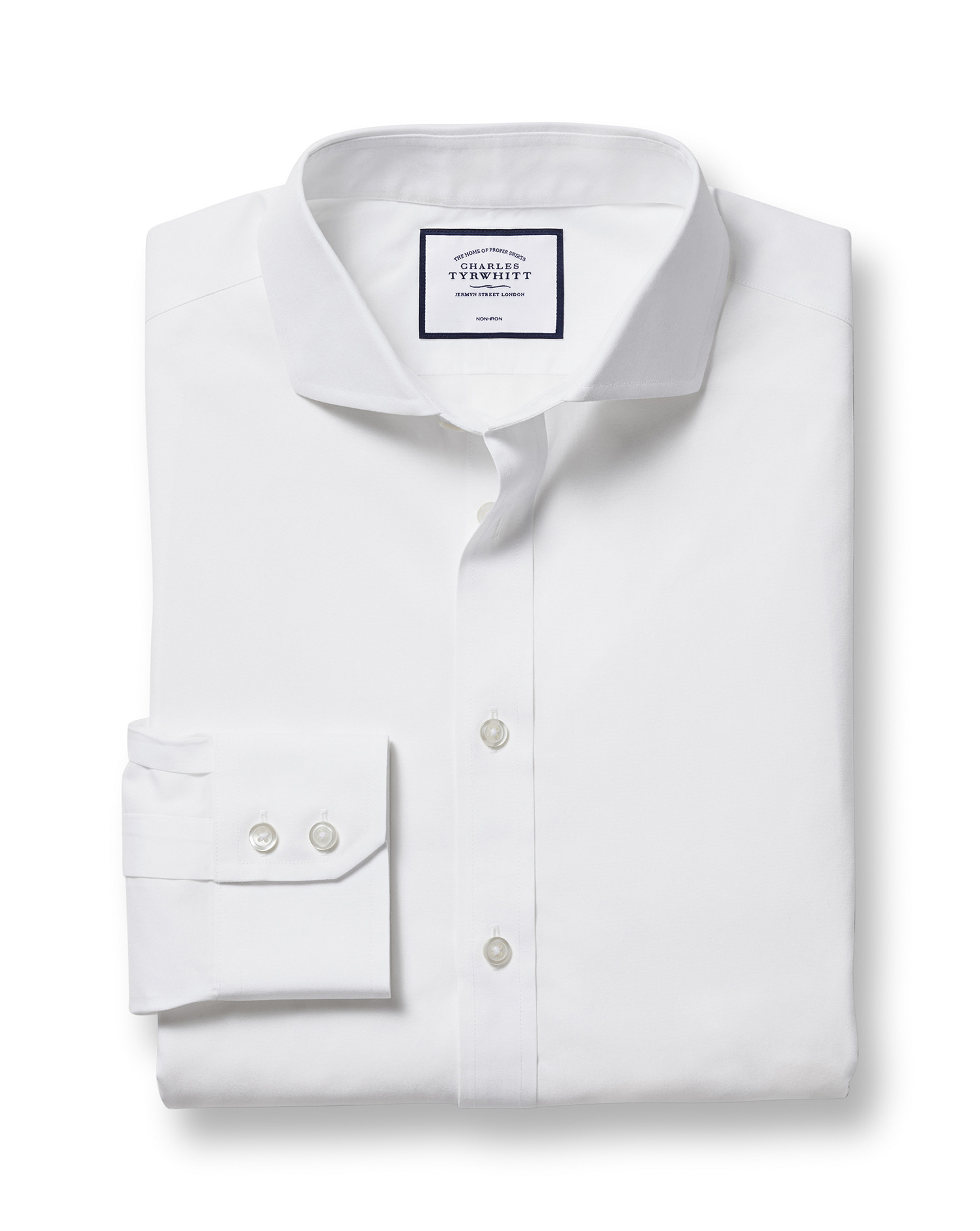 Extra Slim Fit Cutaway Non-Iron Poplin White Cotton Formal Shirt Single Cuff Size 16/33 by Charles Tyrwhitt from Charles Tyrwhitt