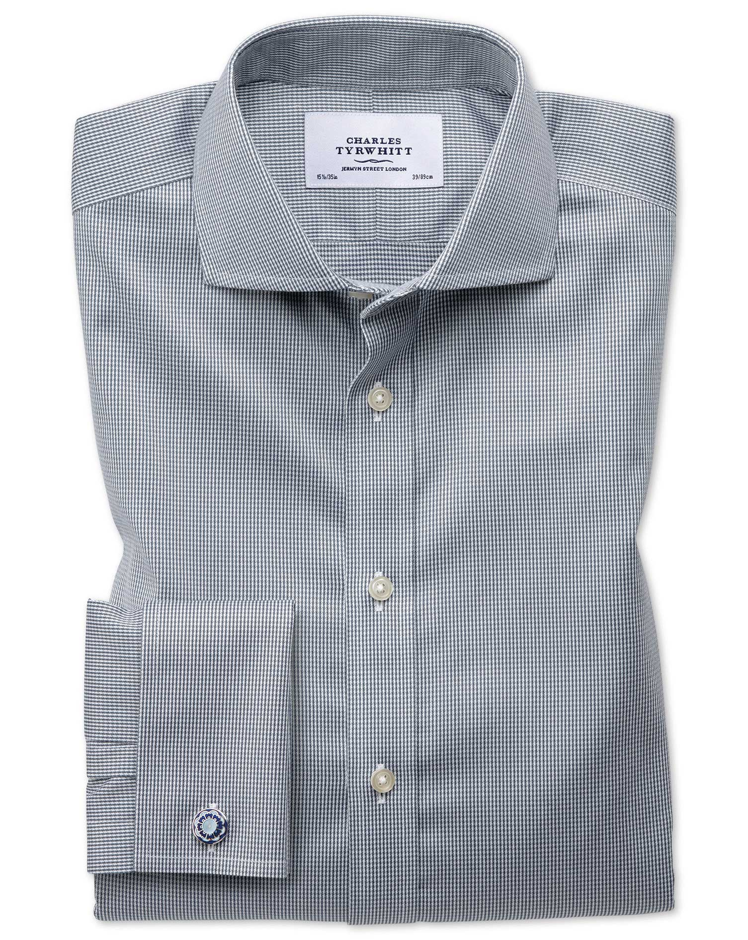 Extra Slim Fit Cutaway Non-Iron Puppytooth Dark Grey Cotton Formal Shirt Double Cuff Size 15/35 by Charles Tyrwhitt from Charles Tyrwhitt